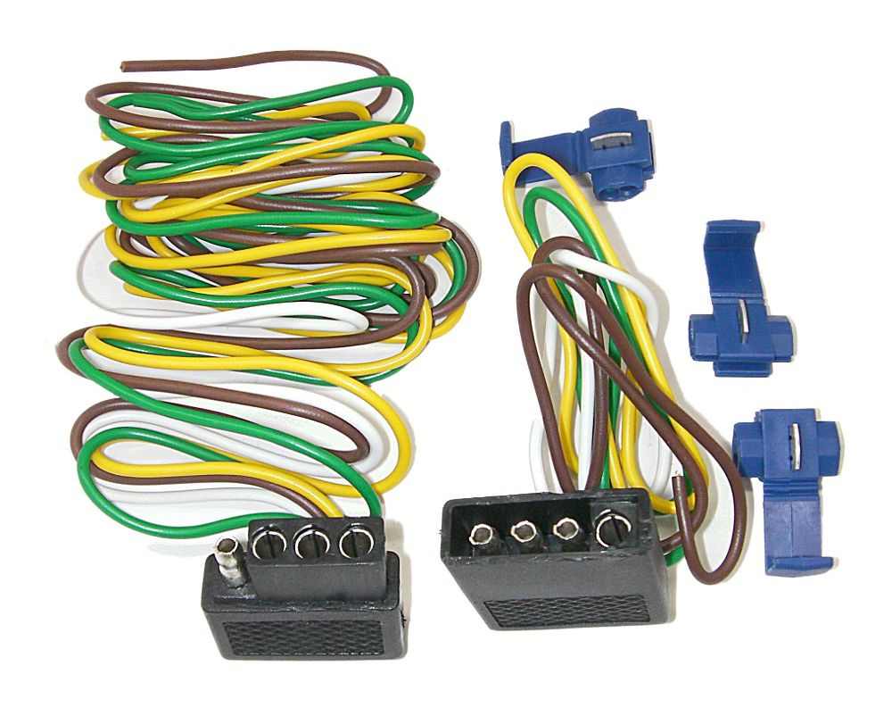 Parts Master 86104 4 Way Shrouded 48 Trailer Lights Wiring Kit Light Harness Flat Connector